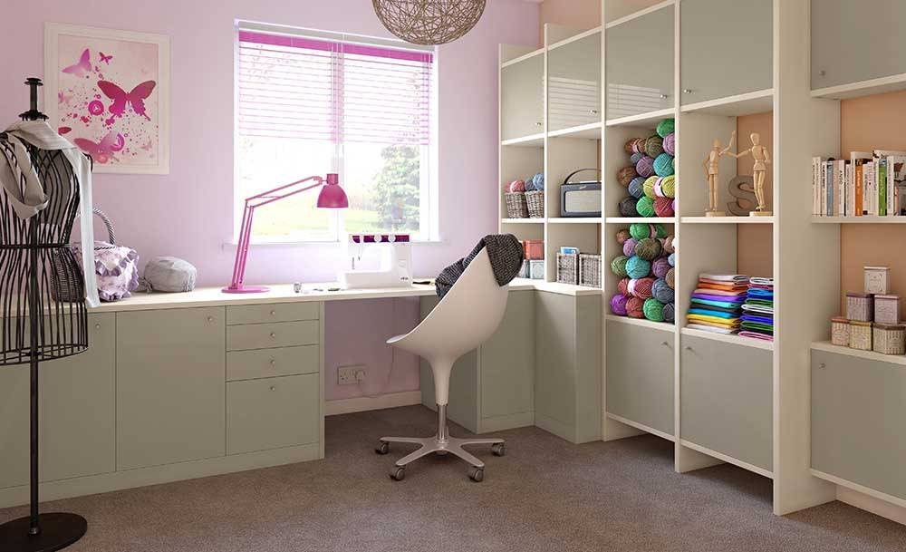 CROWN RIALTO GreyLight LS Oyster fitted office with shelves and storage